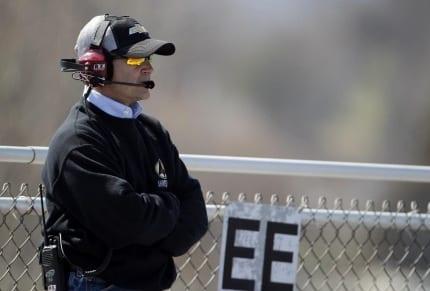 Ward Burton coaches son Jeb Burton at Martinsille Speedway