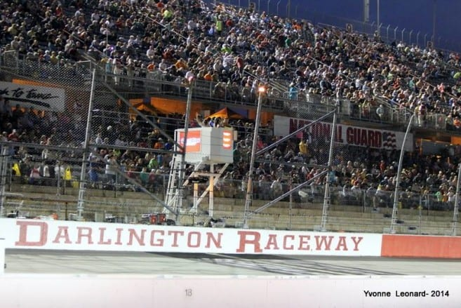 Fans in the stands for a NASCAR Sprint Cup race at Darlington Raceway