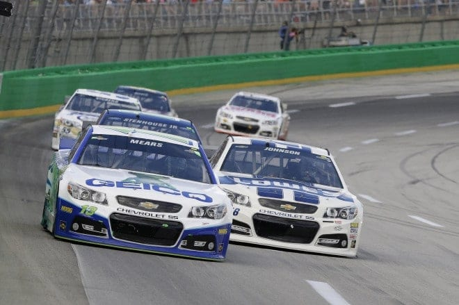 Jimmis Johnson and Casey Mears race at Kentucky Speedway July 2014.