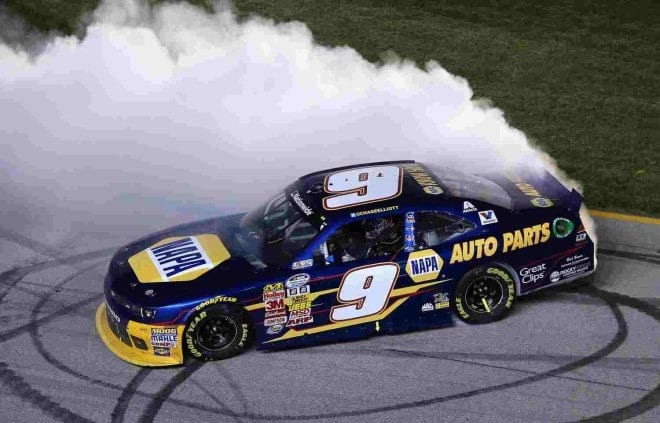 2014 Chicago NNS Chase Elliott burnout Credit Jonathan Daniel NASCAR via Getty Images