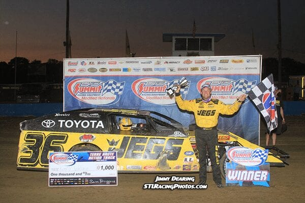 Kenny Wallace hits Victory Lane at the Action Track in Terre Haute with a 2014 Summit Modified Nationals win Jimmy Dearing