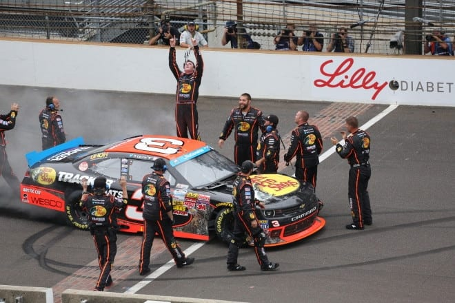 Ty Dillon celebrates victory at Indianapolis Motor Speedway 2014 Nationwide Mike Neff