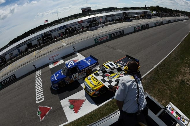 2014 Canadian Tire Motorsports Park NCWTS Ryan Blaney German Quiroga checkered flag credit getty images