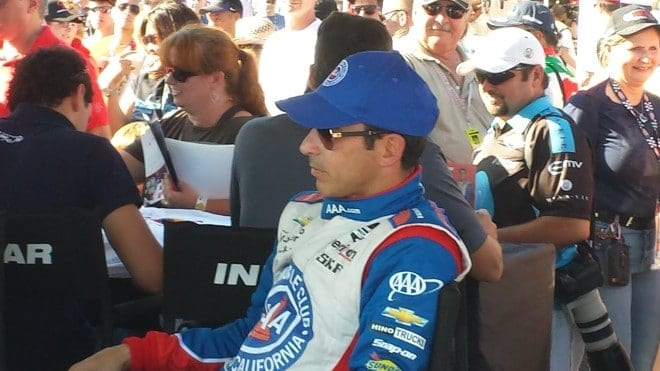 2014 IndyCar Auto Club Helio Castroneves sitting credit Huston Ladner