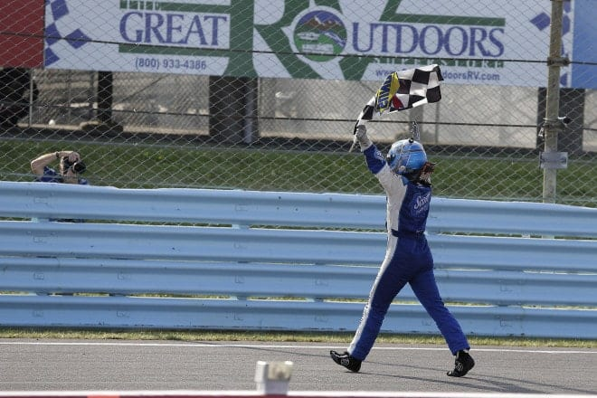 2014 Watkins Glen CUP AJ Allmendinger checkered flag CIA