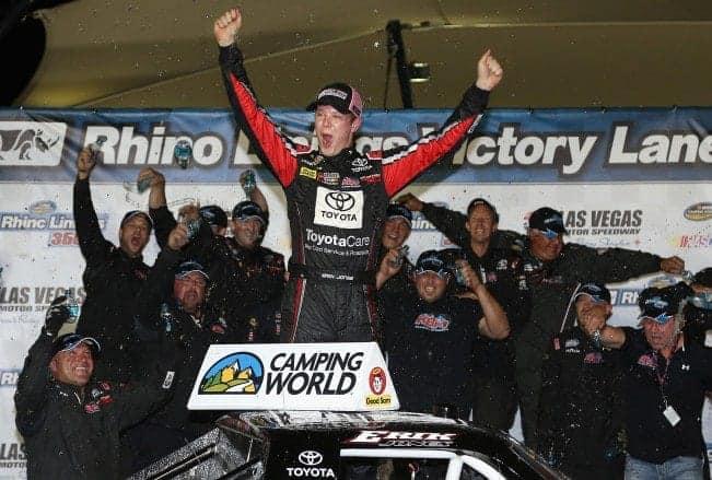 2014 Las Vegas Motor Speedway CWTS Erik Jones Victory Lane Credit Christian Petersen NASCAR via Getty Images