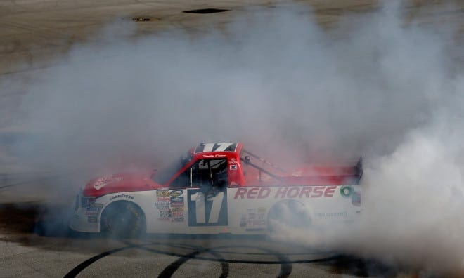 2014 CWTS Talladega Superspeedway Timothy Peters Burnout Credit NASCAR via Getty Images