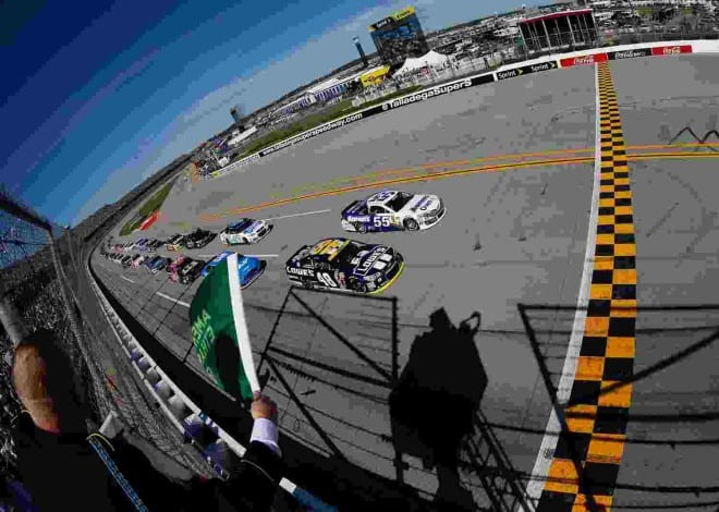2014 Talladega II CUP green flag credit NASCAR via Getty Images