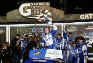 2015 Daytona I CWTS Tyler Reddick woohoo credit NASCAR via Getty Images