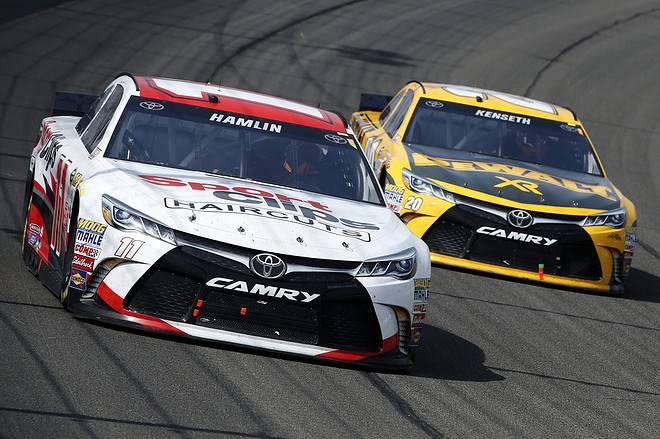 2015 Fontana CUP Denny Hamlin Matt Kenseth racing credit NASCAR via Getty Images
