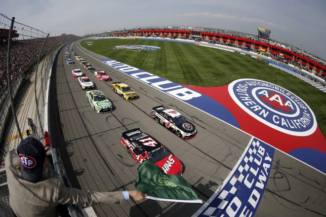 2015 Fontana CUP green flag credit NASCAR via Getty Images e1427857184412