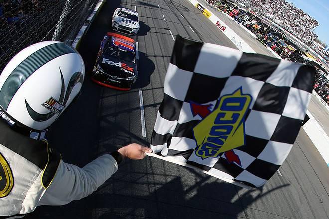 2015 Martinsville I CUP Denny Hamlin wins credit NASCAR via Getty Images