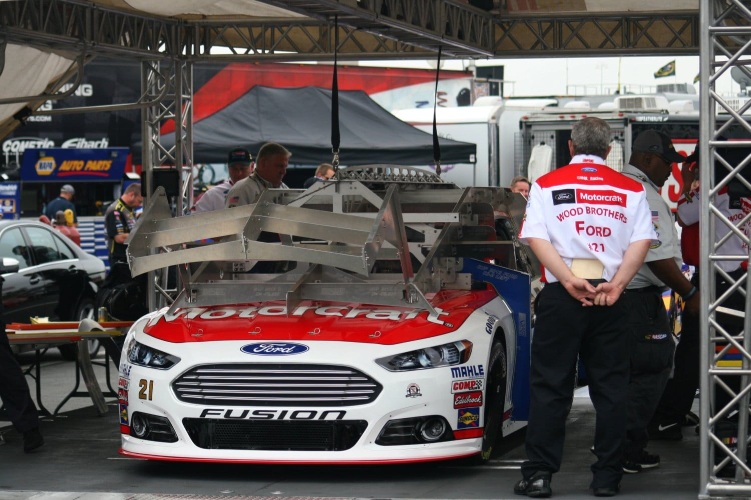 2015 Charlotte I CUP Ryan Blaney inspection credit Amy Henderson