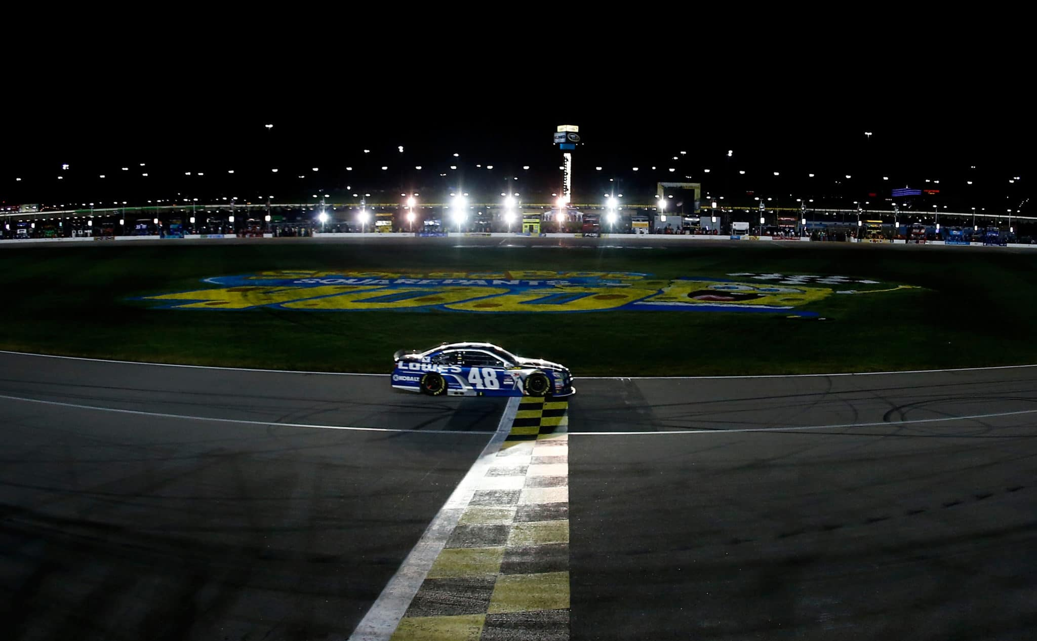 2015 Kansas I CUP Jimmie Johnson wins credit NASCAR via Getty Images