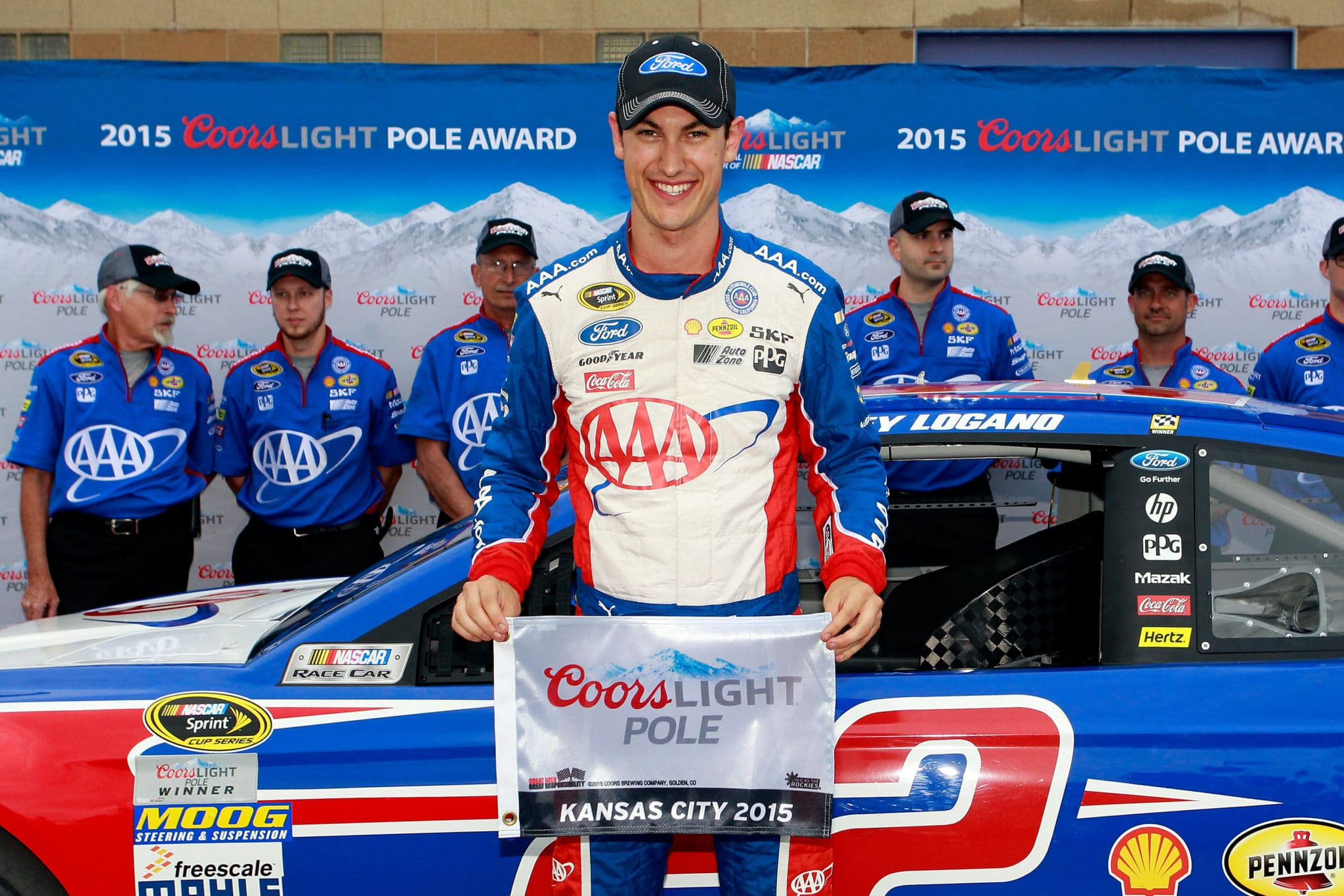 2015 Kansas I CUP Joey Logano pole credit NASCAR via Getty Images