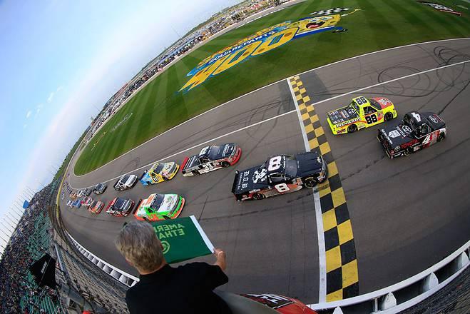 2015 Kansas I CWTS green flag credit NASCAR via Getty Images