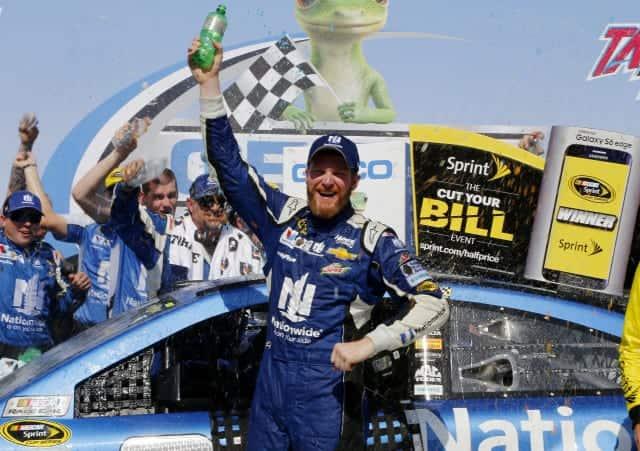 2015 Talladega I CUP Dale Earnhardt Jr woohoo credit NASCAR via Getty Images e1430861871634