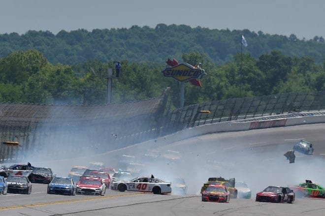 A multi-car crash during a NASCAR Sprint Cup race at Talladega Superspeedway