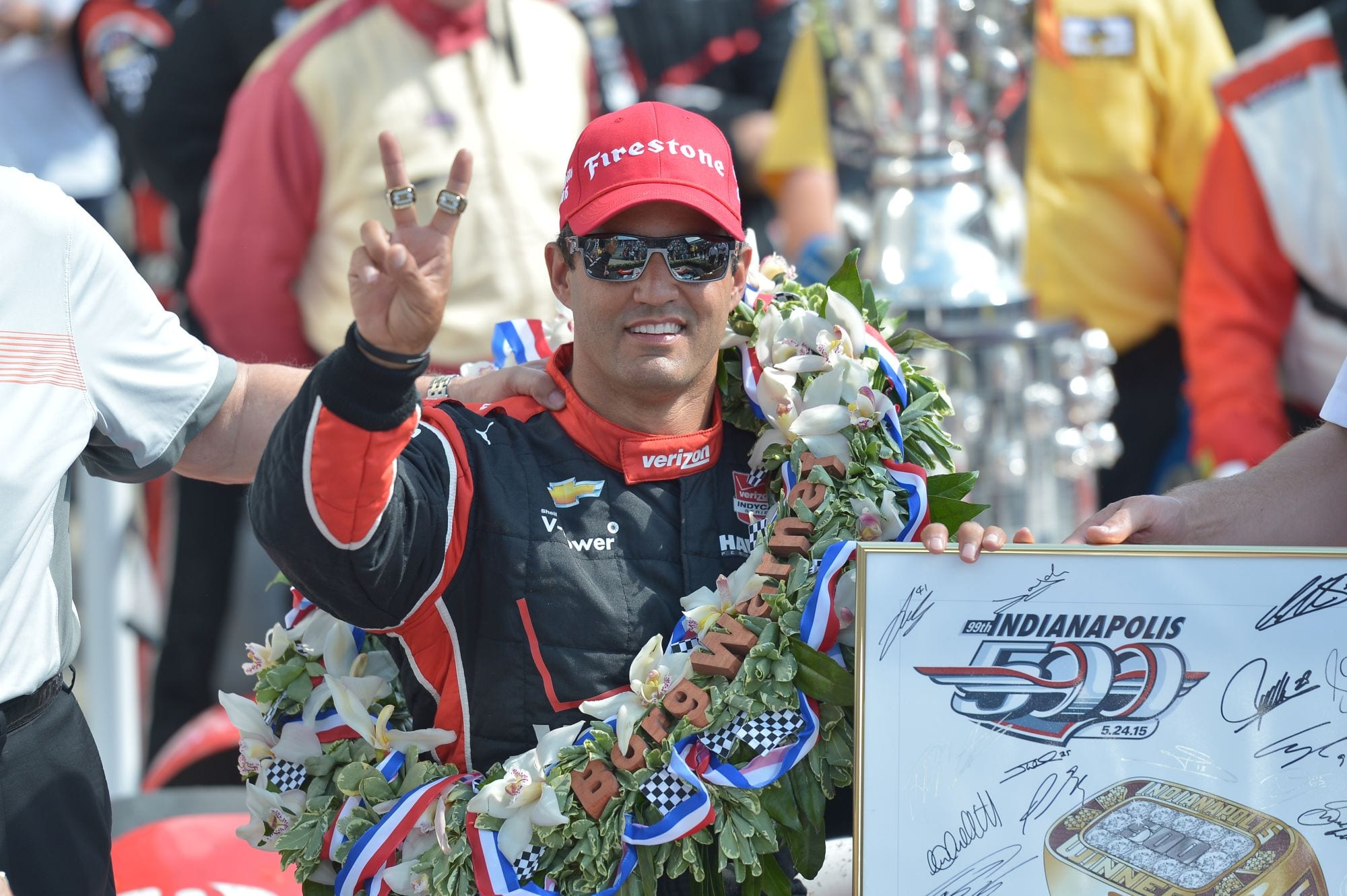IndyCar 2015 Indy Montoya victory sign credit Chris Owens