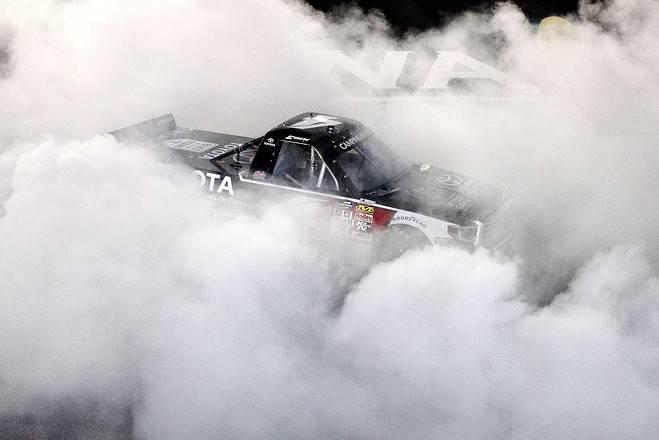 2015 Iowa CWTS Erik Jones burnout credit NASCRA via Getty Images