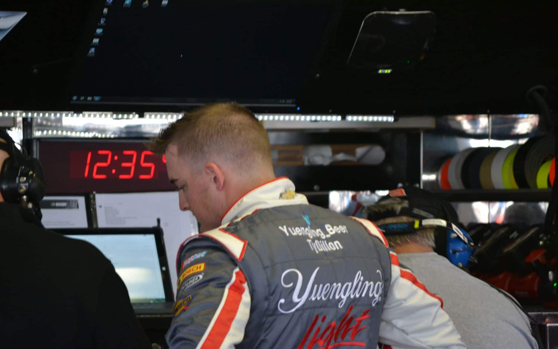 2015 Pocono NSCS Ty Dillon in Garage with Yuengling Driver Suite Credit Anthony Lumbis Sr.