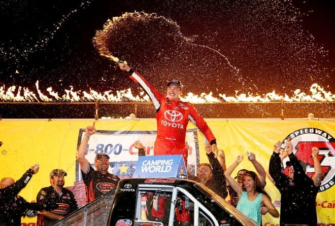 2015 CWTS Eldora Christopher Bell Victory Lane Celebration NASCAR via Getty Images