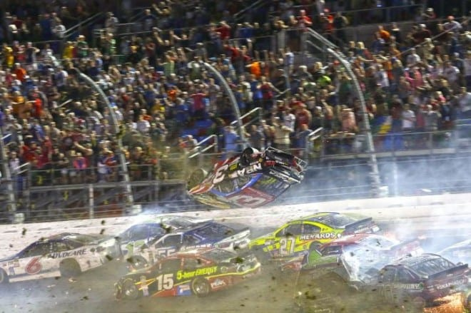 Austin Dillon's car goes airbornin a last-lap crash at Daytona in the Coke Zero 400