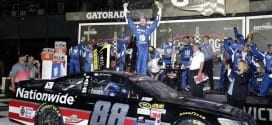 Dale Earnhardt, Jr. and his team celebratein Victory Lane after the Coke Zero 400 in Daytona