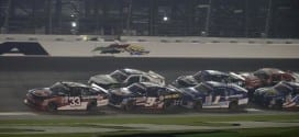 Austin Dillon leads the field in the XFINITY Series race at Daytona.