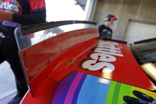 A close up pf the new spoiler configuration Sprint Cup cars used at Indianapolis Motor Speedway