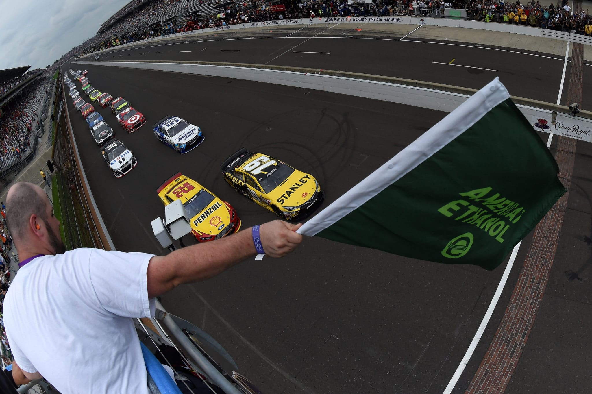 2015 Indianapolis CUP green flag credit NASCAR via Getty Images
