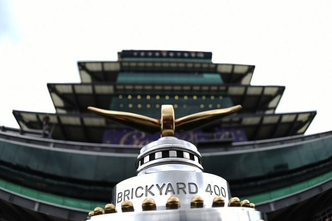 The NASCAR trophy ready for the Jeff Kyle 400 at the Brickyard at Indianapolis Motor Speedway
