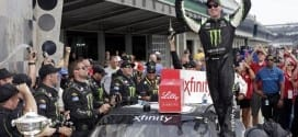 Kyle Busch celebrates after winning the XFINITY Series race at Indianapolis Motor Speedway