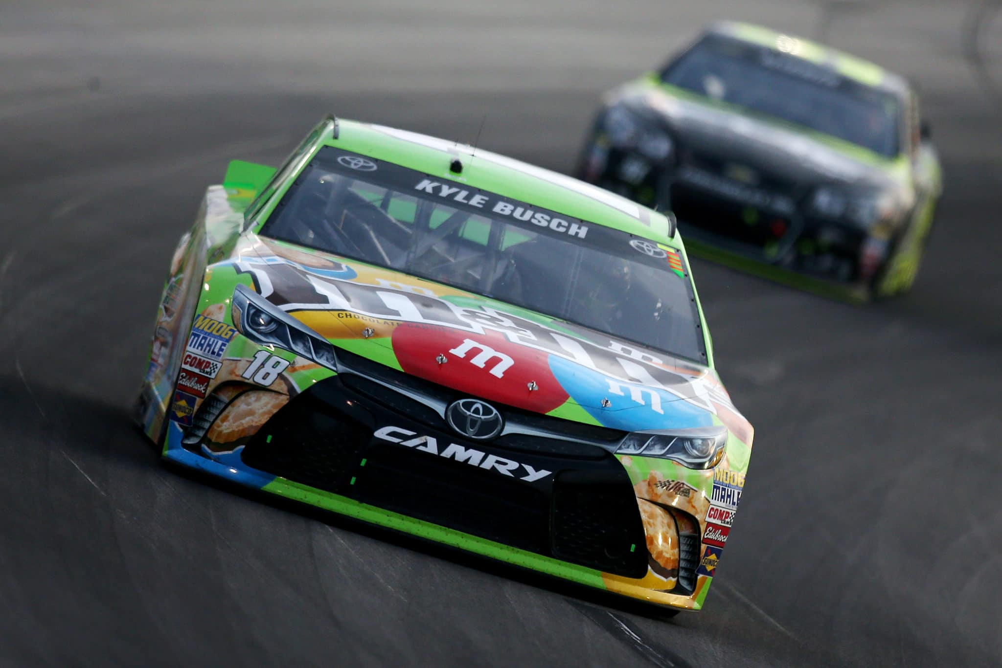 2015 Kentucky CUP Kyle Busch leads credit NASCAR via Getty Images