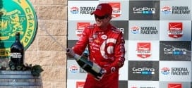 Scott Dixon celebrates his race win and championship title at Sonoma (credit: IndyCar)