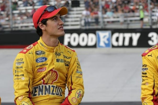 Joey Logano in the infield at Bristol Motor Speedway before the Irwin Tools Night Race