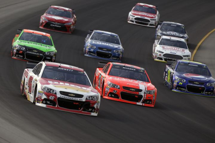 Cars on track for the NASCAR Sprint Cup Pure Michigan 400 at Michigan International Speedway
