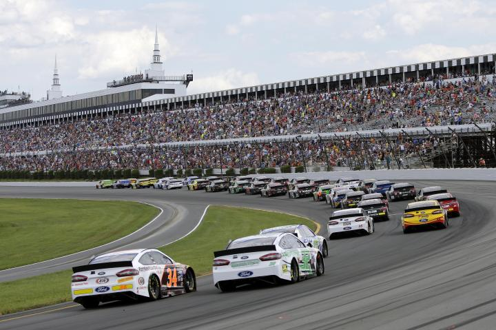 The NASCAR field heads toward the green flag in the Windows 10 400 at Pocono Raceway