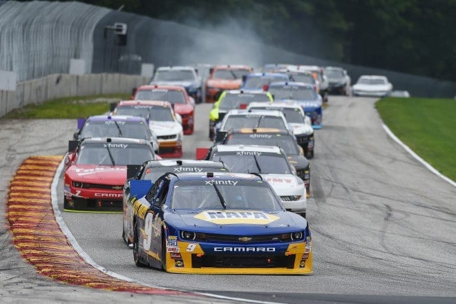 2015 Road America NXS Chase Elliott lead credit NASCAR via Getty Images