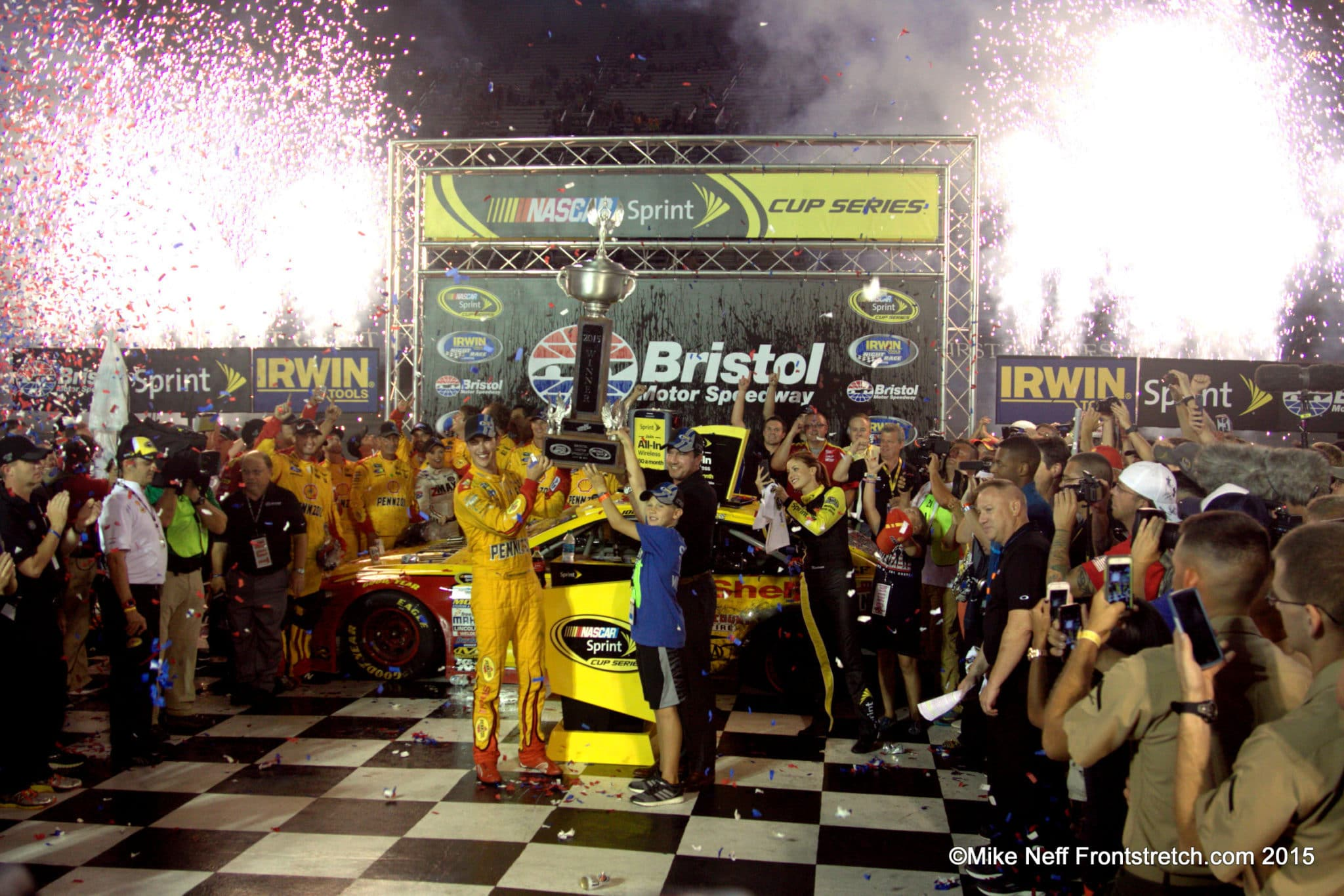 Joey Logano Trophy Victory Lane Bristol 2015 Cup Mike Neff