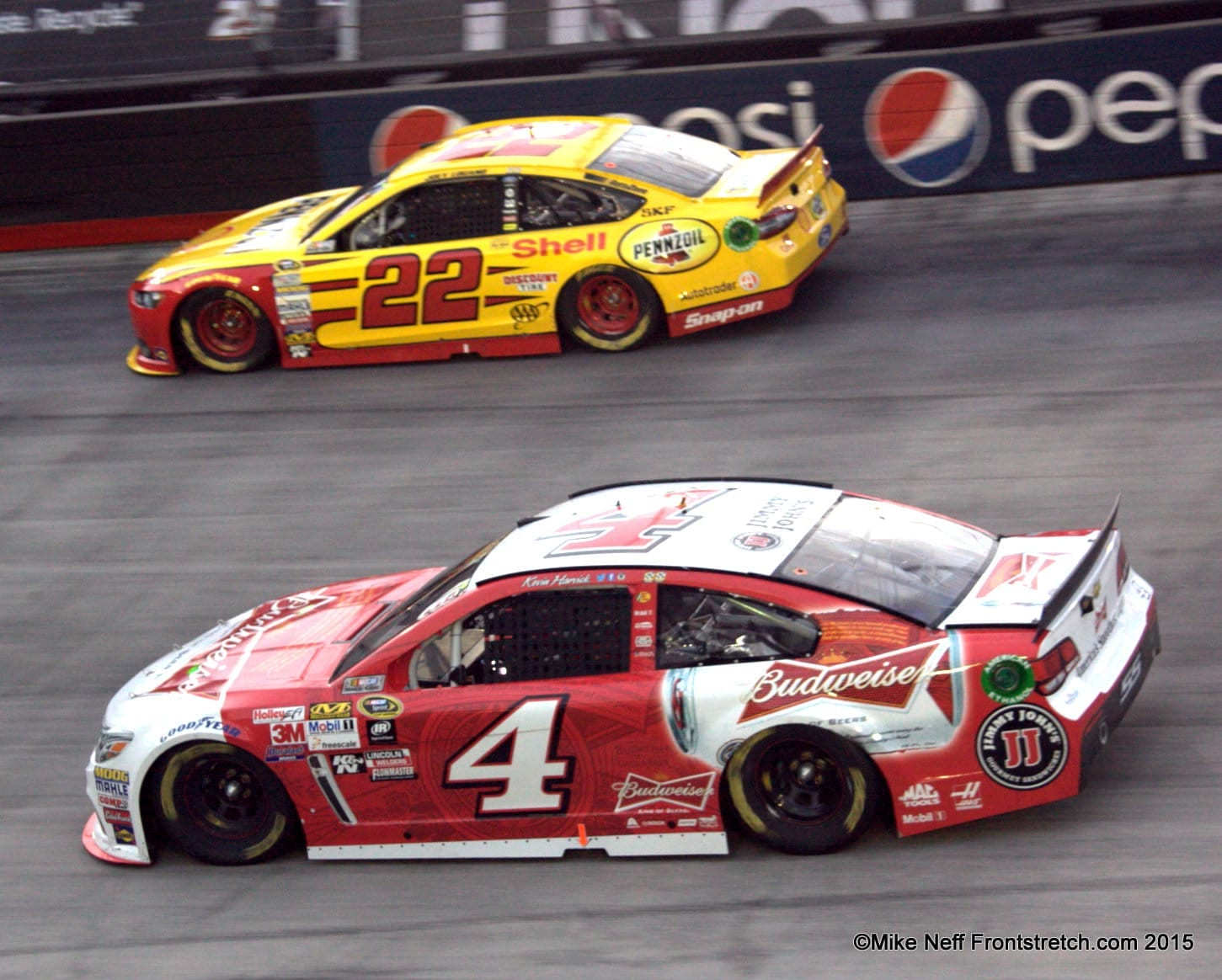 Joey Logano and Kevin Harvick Bristol 2015 Cup Mike Neff