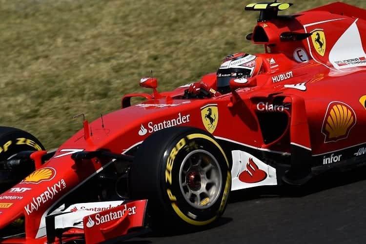 Kimi Raikkonen on track during practice for the 2015 Belgium Grand Prix