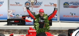 Justin Wilson celebrates his IndyCar victory at Watkins Glen in 2009