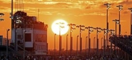 The sun sets over the 2015 Southern 500 at Darlington Raceway