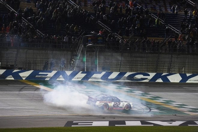 2015 Kentucky Speedway NXS Ryan Blaney burnout Credit NASCAR via Getty Images