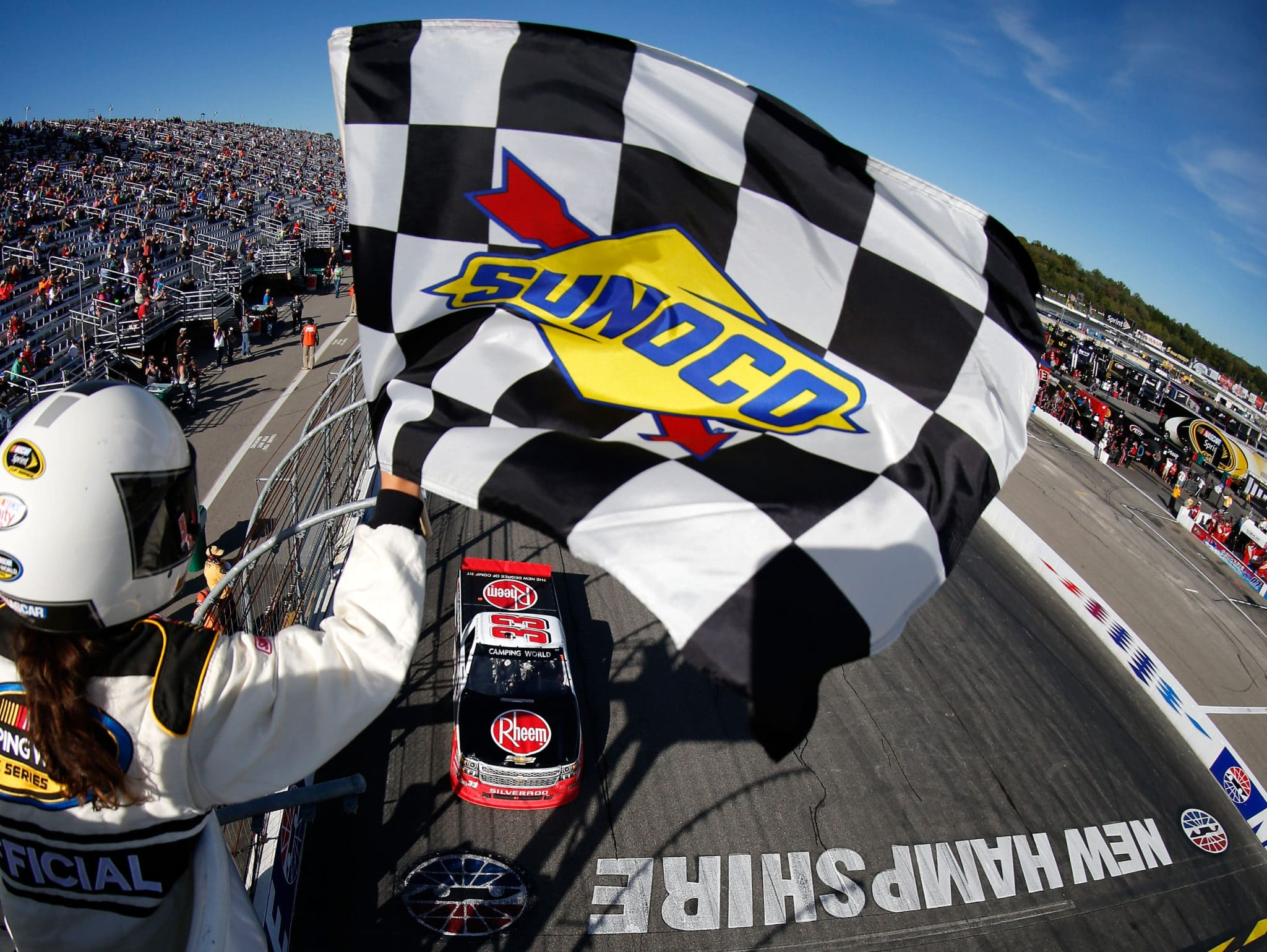 2015 New Hampshire Motor Speedway NCWTS Austin Dillon checkered flag credit NASCAR via Getty Images1