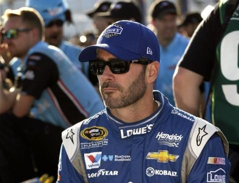 Jimmie Johnso sits in the garage during qualifying for the Federated Auto Parts 400 at Richmond International Raceway