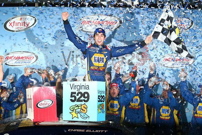 2015 Richmond International Raceway NXS Chase Elliott victory lane woohoo credit NASCAR via getty images