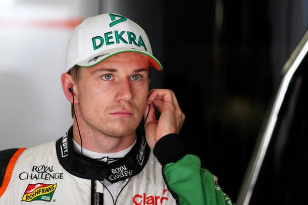 MONTMELO, SPAIN - MAY 10: Nico Hulkenberg of Germany and Force India looks on in the garage during final practice ahead of the Spanish F1 Grand Prix at Circuit de Catalunya on May 10, 2014 in Montmelo, Spain. (Photo by Clive Mason/Getty Images)