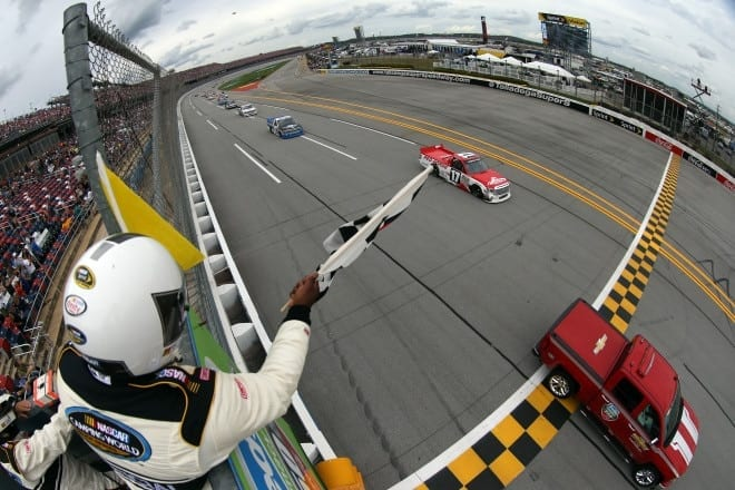 2015 Talladega Superspeedway NCWTS Timothy Peters checkered flag photo NASCAR via Getty Images